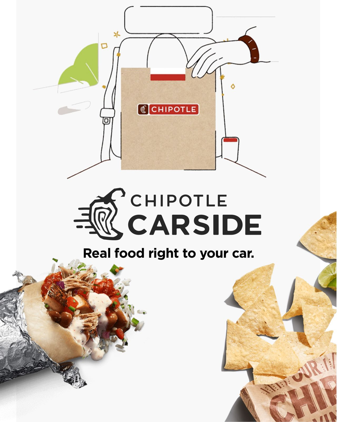 Chipotle Carside: Real food right to your car, now available in the Chipotle app. Download now to get started.